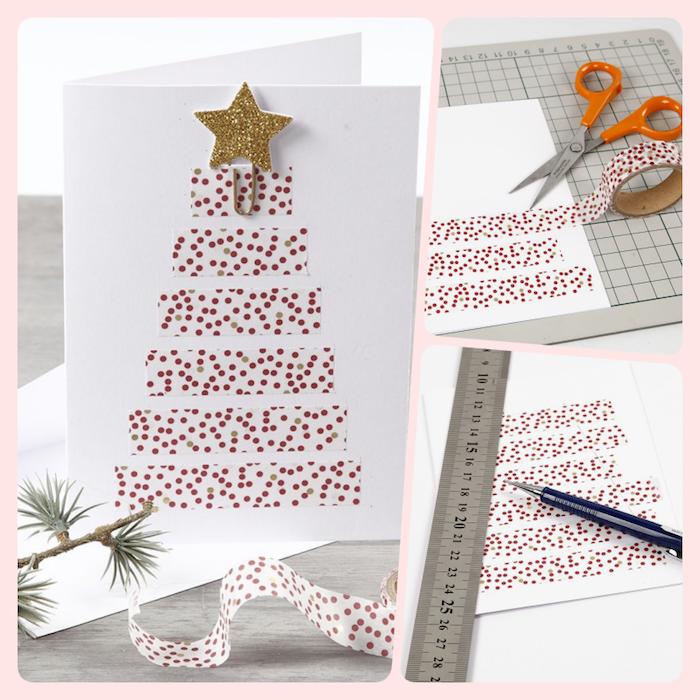 Weihnachtskarten selber basteln, Christbaum aus Washi Tape, Glitzerstern auf der Spitze, weihnachtskarten selber basteln vorlagen kostenlos