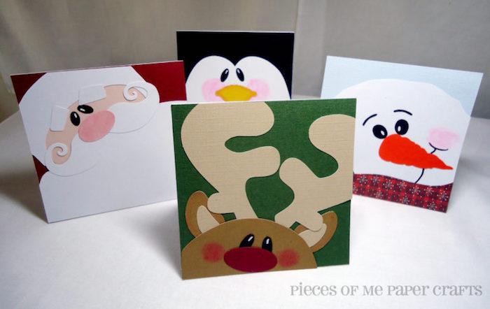 Lustige Weihnachtskarten mit Kindern basteln, Schneemann Rentier Pinguin und der Weihnachtsmann