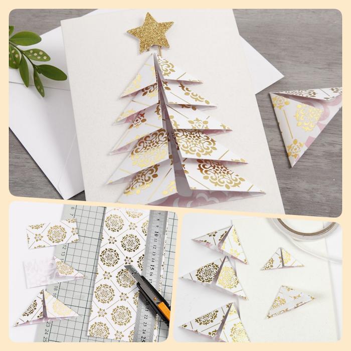 Weihnachtskarte mit 3D Weihnachtsbaum selber basteln, Schritt für Schritt Anleitung