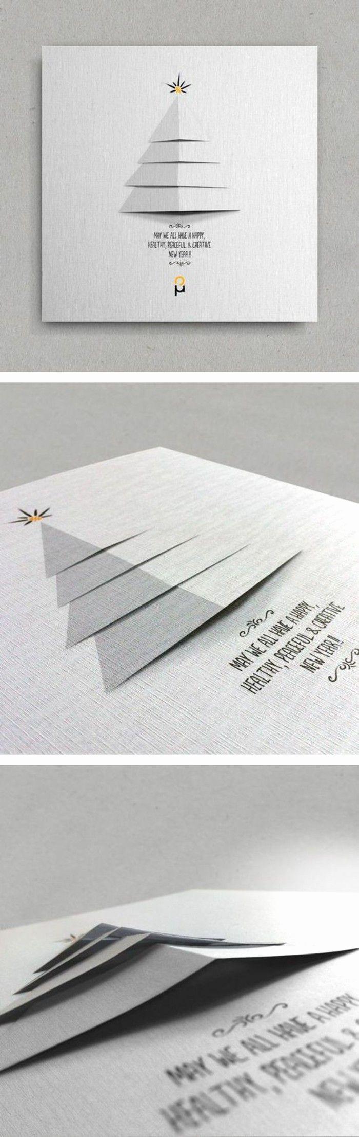 Weihnachtskarte mit 3D Weihnachtsbaum, Stern auf der Spitze, simples Design