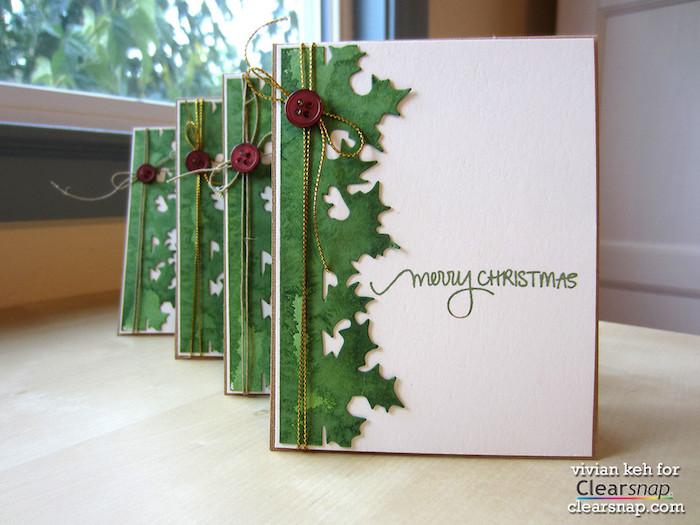 Einfache DIY Ideen für schöne Weihnachtskarten, Mistel aus grünem Papier, rote Knöpfen und goldene Schnur