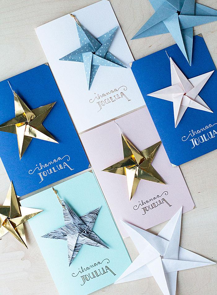Weihnachtskarten mit Sternen aus Karton selber machen, Basteln für Weihnachten mit Kindern