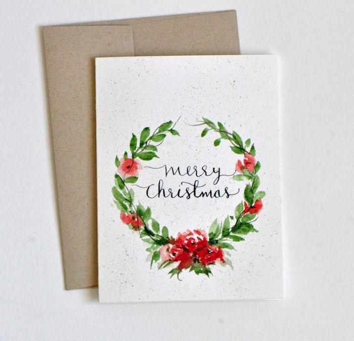 DIY Ideen für Weihnachtskarten, Weihnachtskranz mit Aquarellfarben malen
