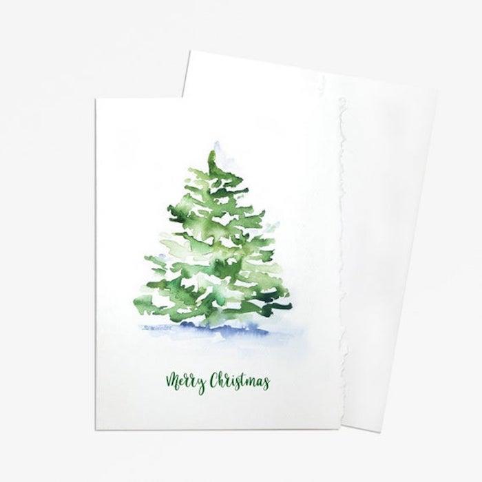 Tannenbaum malen mit Aquarellfarben, Bilder zum Nachmalen mit Weihnachtsmotiven
