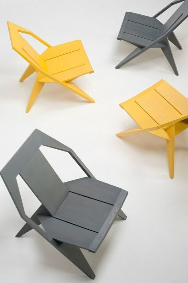 coole-Designstühle-für-eine-schicke-Wohnung-Grau und Gelb