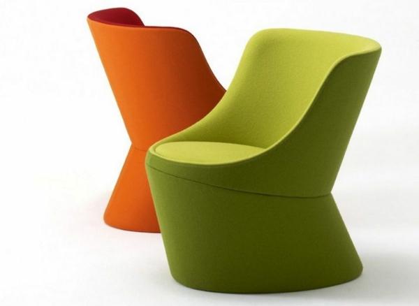 designer-Sessel-in-fantastischer-Farben-Grün-Orange