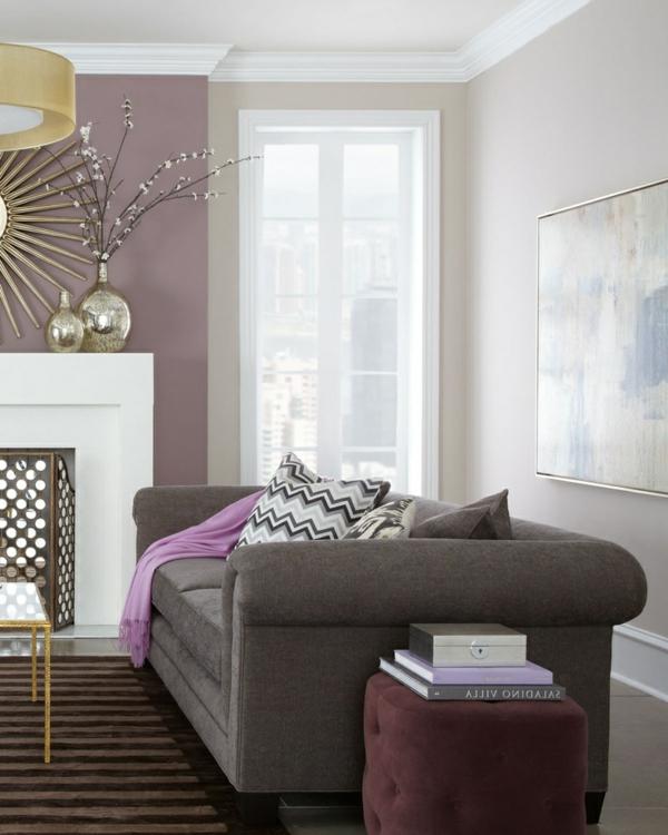 wohnzimmer olivgrün:schöne Wohnzimmergestaltung mit Wand in Lila