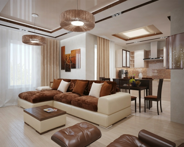 wohnzimmer rot braun:elegantes-Wohnzimmer-in-Braun-und-Beige-Wohnzimmer-Einrichtung
