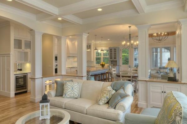 wohnzimmer orange weiß:elegantes-Wohnzimmer-in-Weiß.-mit schöner-Beleuchtung