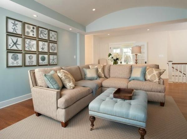 Elegantes Wohnzimmer Mit Hellblauer Wand Bilder