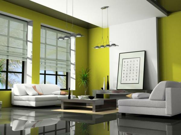 elegantes-Wohnzimmer-mit-limegrünen-Wänden-Wohnzimmer-Einrichtung