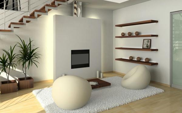 Langflor Teppich bunte horizontale Streifen schlichtes Möbeldesign