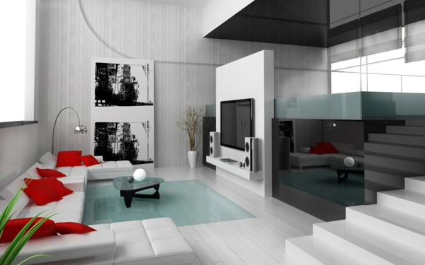 wohnzimmer olivgrün:super tolle Einrichtung mit weißem Sofa und roten Kissen