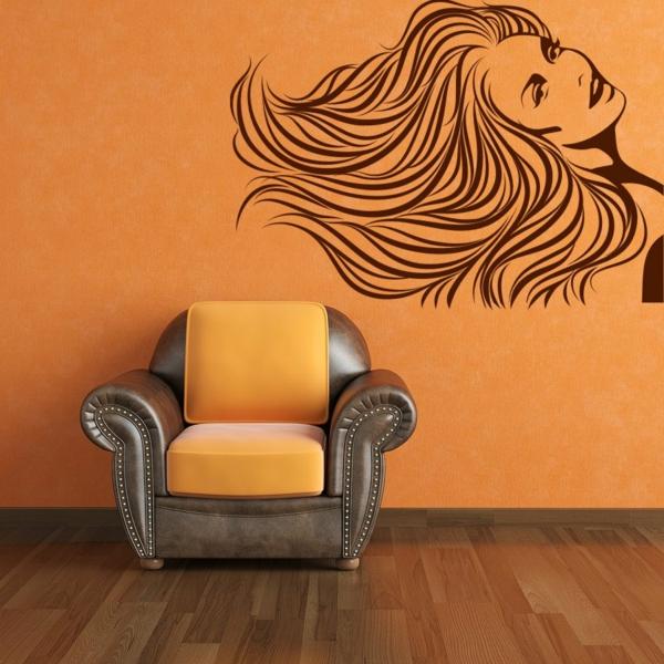 faszinierendes-Design-moderne-und-coole- Wandgestaltung-Orange-Wandbild