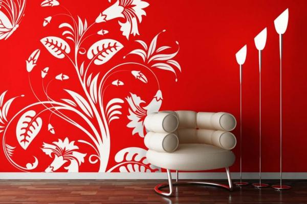 faszinierendes-Design-moderne-und-coole- Wandgestaltung-in-Rot