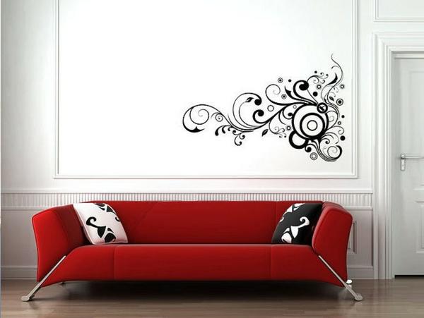faszinierendes-Design-moderne-und-coole- Wandgestaltung-rotes-Sofa