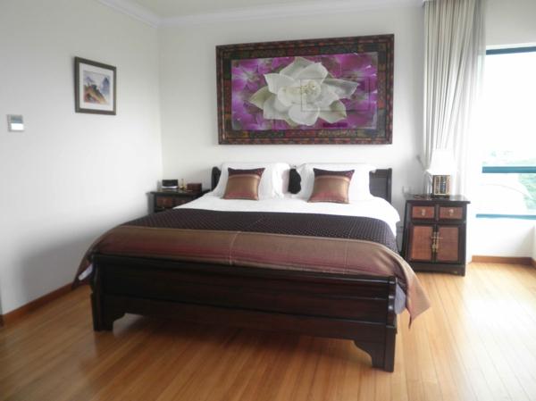 feng shui schlafzimmer einrichten - super bild an der wand