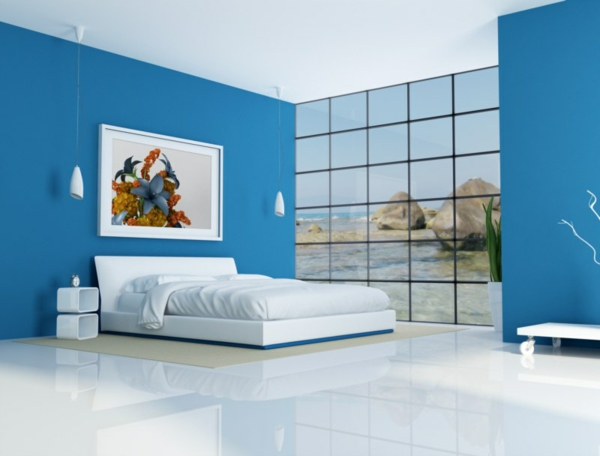 feng-shui-schlafzimmer-einrichten-blaue-wände