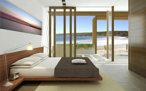 feng-shui-schlafzimmer-einrichten-gläserne-wände-und-schönes-bett