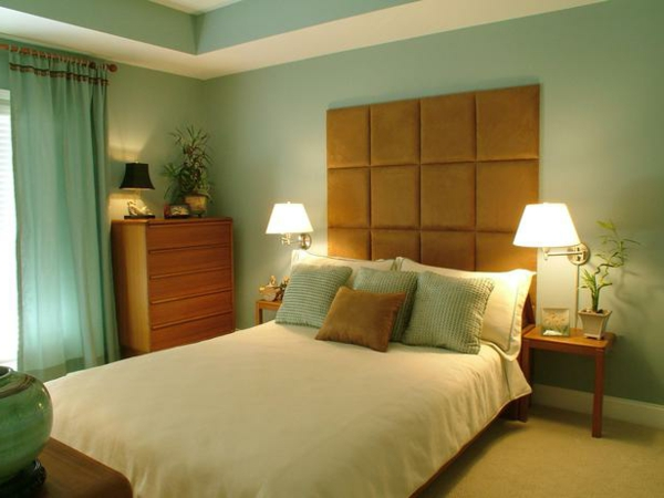 feng-shui-schlafzimmer-einrichten-grüne-wandgestaltung