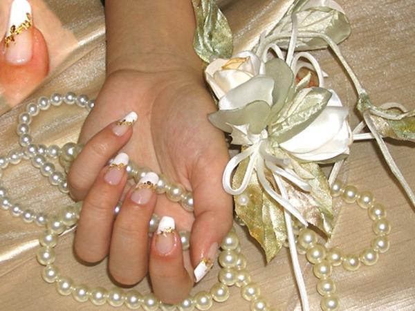 nageldesign bilder für hochzeit - schöne perlen