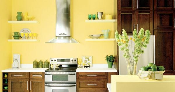 gelbe-küchen-wandfarbe-wunderschöne-möbel