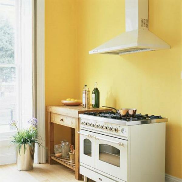 Wunderschöne gelbe Küchen Wandfarbe