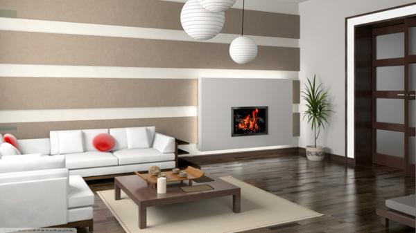 wohnzimmer olivgrün:gemütliches-Wohnzimmer- Interior-Design-Tapete-weße-Lampen