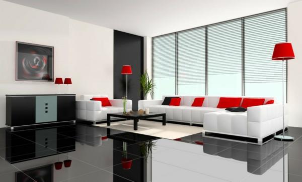 gemütliches-Wohnzimmer- Interior-Design-rote-Kissen-Wohnzimmer-Einrichtung