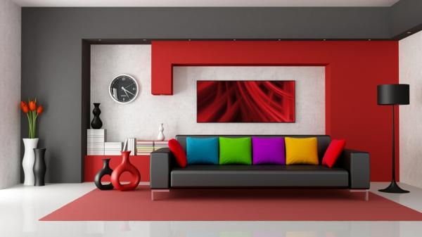 gemütliches-Wohnzimmer- Interior-Design-rote-Wand-Wohnzimmer-Einrichtung