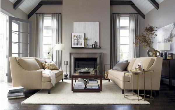 wohnzimmer olivgrün:gemütliches-Wohnzimmer- Interior-Design-traditioneller-Stil