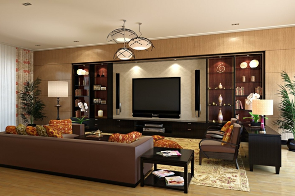 gestaltungsmöglichkeiten-für-wohnzimmer-braune-farbschemen - wunderschön erscheinen