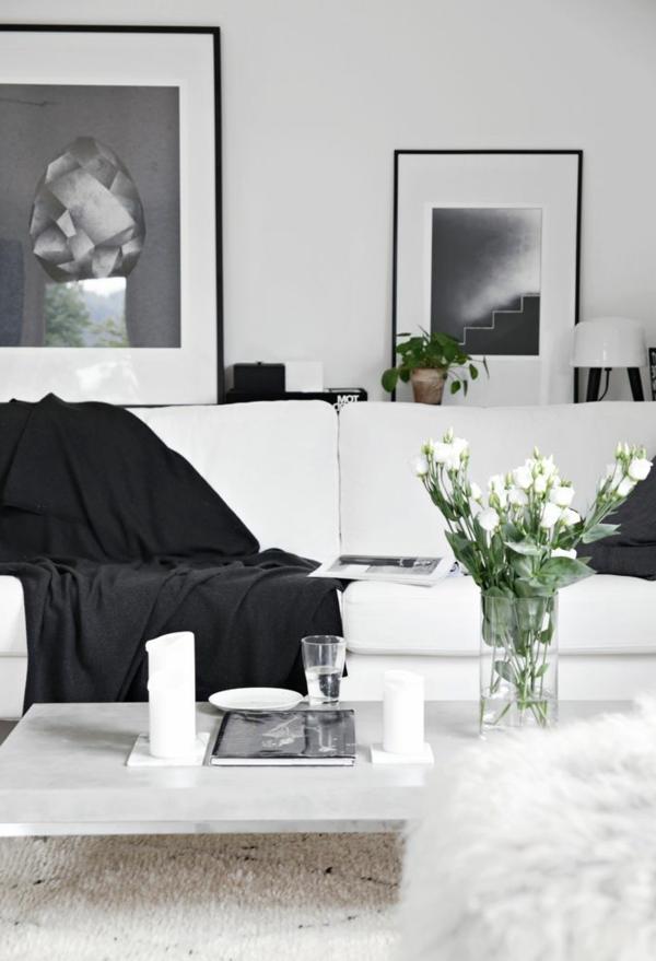 Gestaltungsmöglichkeiten für wohnzimmer sofa in weiß und schwarz