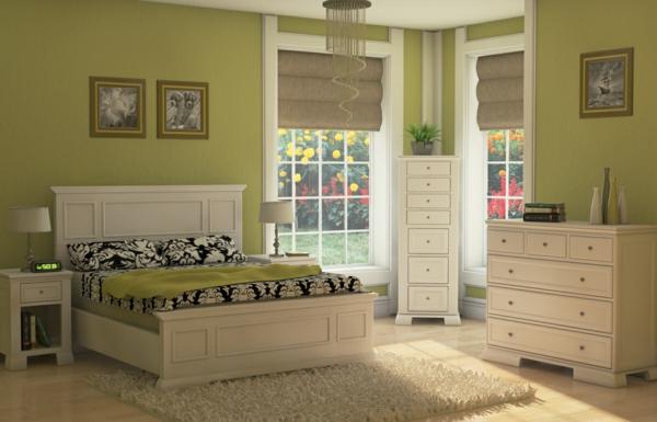 grüne-wandgestaltung-für-schlafzimmer-gemütliche-atmosphäre