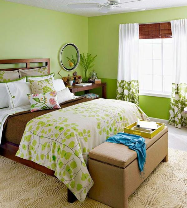 grüne-wandgestaltung-für-schlafzimmer-gemütliche-ausstattung