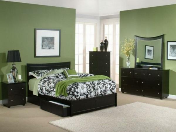 grüne-wandgestaltung-für-schlafzimmer-luxuriös