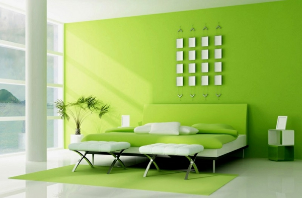 grüne-wandgestaltung-für-schlafzimmer-luxuriöse-ausstattung