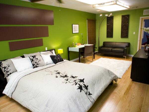 grüne-wandgestaltung-für-schlafzimmer-mit-braunen-akzenten