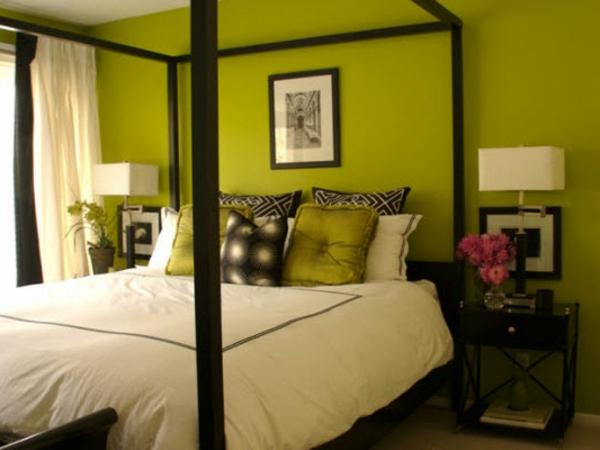 grüne-wandgestaltung-für-schlafzimmer-mit-einem-schönen-bett