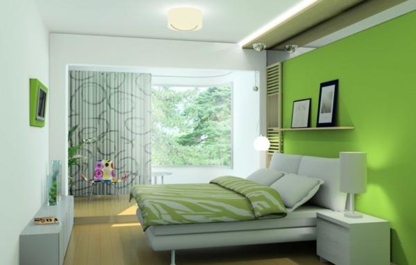 grüne-wandgestaltung-für-schlafzimmer-mit-schönen-möbeln