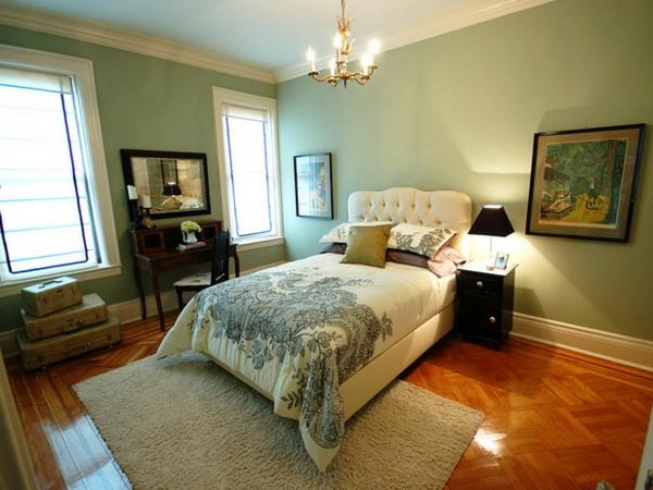 grüne-wandgestaltung-für-schlafzimmer-moderne-ausstattung