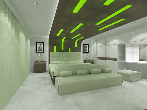 grüne-wandgestaltung-für-schlafzimmer-moderne-decke