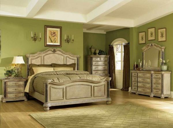 grüne-wandgestaltung-für-schlafzimmer-retro-look