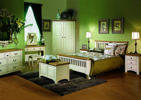 grüne-wandgestaltung-für-schlafzimmer-schöne-deko