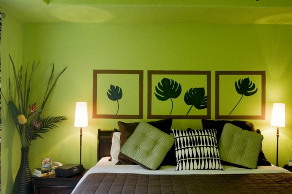 55 ideen f r gr ne wandgestaltung im schlafzimmer for Bedroom interior designs green