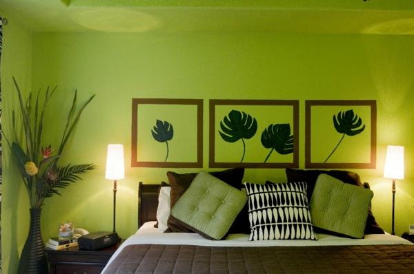grüne-wandgestaltung-für-schlafzimmer-schicker-look