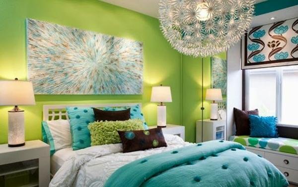 grüne-wandgestaltung-für-schlafzimmer-sehr-schön