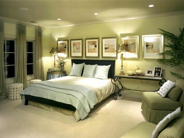 grüne-wandgestaltung-für-schlafzimmer-sehr-schick