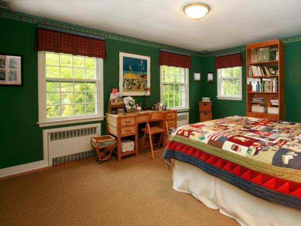 grüne-wandgestaltung-für-schlafzimmer-ungewöhnliches-aussehen
