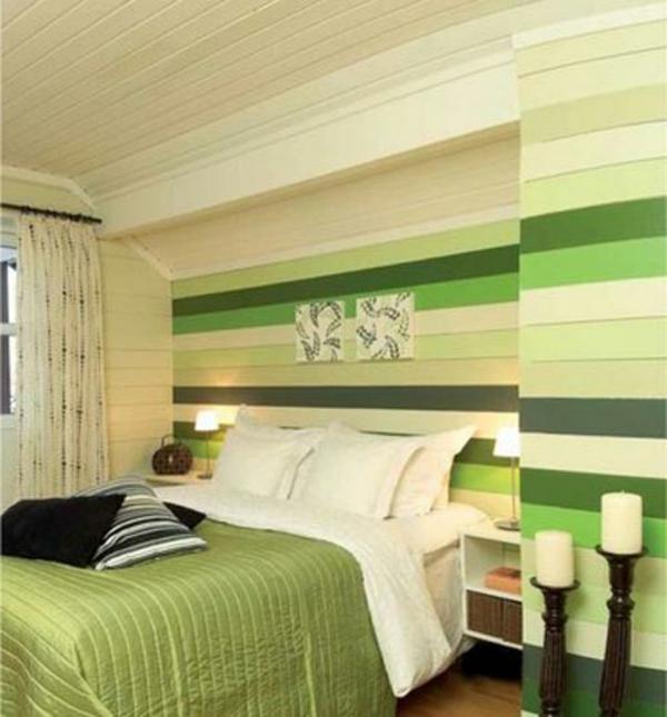 Grune Wandfarbe Kombinieren : wunderschönes schlafzimmer mit grünen und weißen strichen